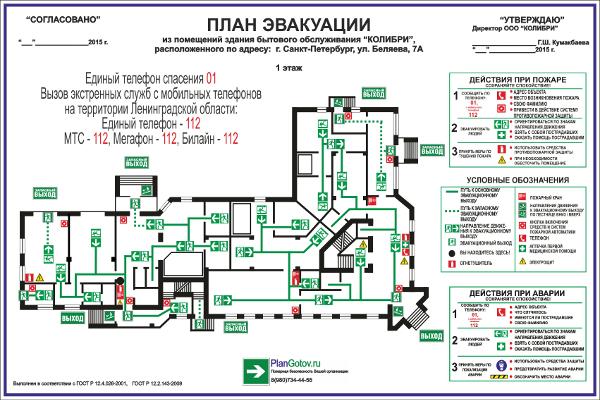 Образец плана эвакуации при пожаре 2016 год